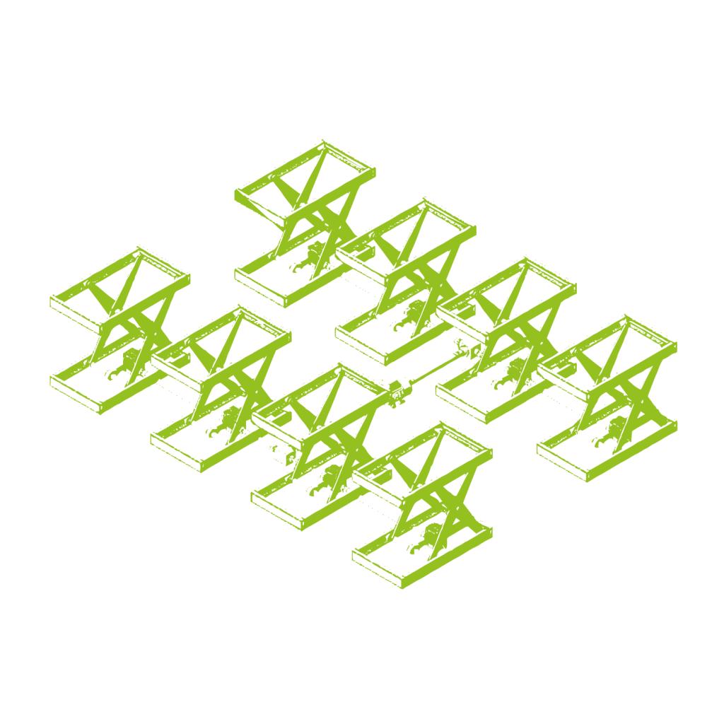 Combinación de plataformas elevadoras de tijera